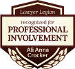 Ali Anna Crocker recognized for Professional Involvement by Lawyer Legion